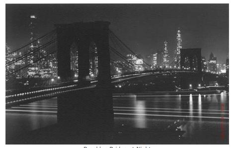 Brooklyn Bridge at Night in lights